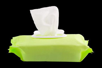Wet wipes in package box on black background, with clipping path.