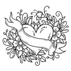 Tattoo heart decorated ribbon, blue flowers, leaves, curls. Balck and white holiday illustration for Valentines Day.