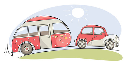 Summer travel in a house on wheels / Funny pink retro car with camping ride on a trip, vector illustration