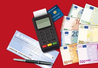 argent - carte bleue - carte de crédit - billet de banque - chèque - monnaie - carte bancaire