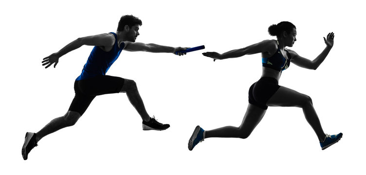 athletics relay runners sprinters running runners in silhouette isolated on white background