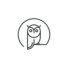 owl logo vector graphic minimalist outline art