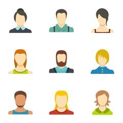 Self identification icons set. flat set of 9 self identificationvector icons for web isolated on white background