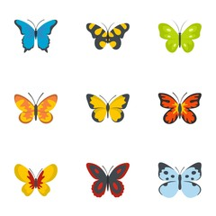 Silkworm icons set. flat set of 9 silkworm vector icons for web isolated on white background