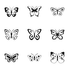 Beautiful butterfly icons set. Simple set of 9 beautiful butterfly vector icons for web isolated on white background