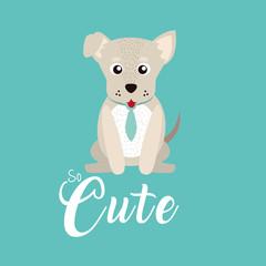 Cute dog with tie cartoon
