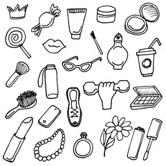 Girlish things hand drawn icons set line art.