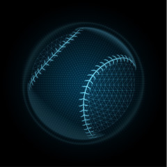 Vector image of a baseball ball made of glowing lines, points and polygons