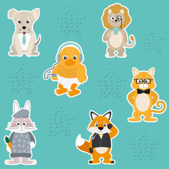 Cute and funny animals background pattern