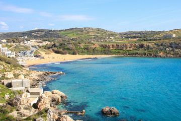 Golden Bay, Panorama, Frühling, Malta