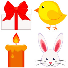 Cartoon easter icon set chicken chick bunny face candle, gift box.