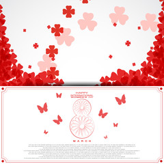 Vector International Women's Day envelope on the white background with text and red clover leaves arranged in a circles and at corners.