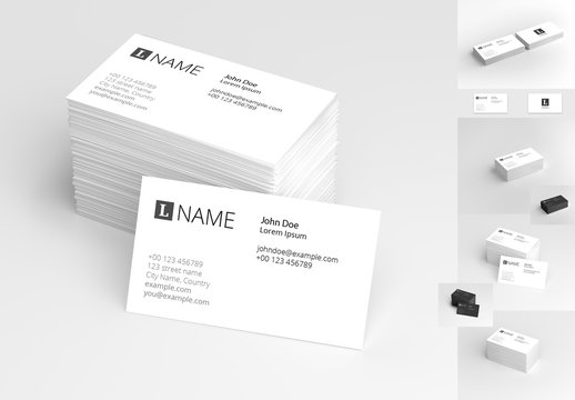 4-in-1 Business Card Mockup Set 1