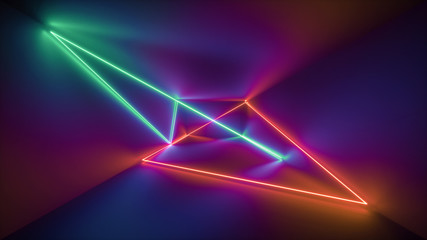 3d rendering, glowing lines, neon lights, abstract psychedelic background, ultraviolet, rainbow vibrant colors, laser show Wall mural