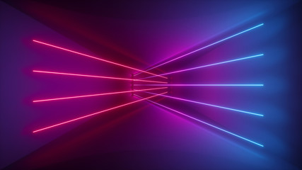 3d rendering, glowing lines, neon lights, abstract psychedelic background, ultraviolet, pink blue vibrant colors