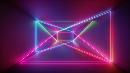 3d rendering, glowing lines, neon lights, abstract psychedelic background, purple, pink blue vibrant colors