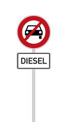 Verkehrszeichen Diesel Fahrverbot, freigestellt auf weiß