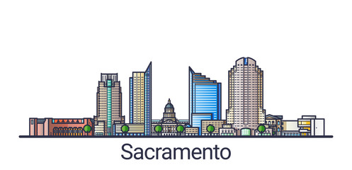 Banner of Sacramento city in flat line trendy style. Sacramento city line art. All buildings separated and customizable.
