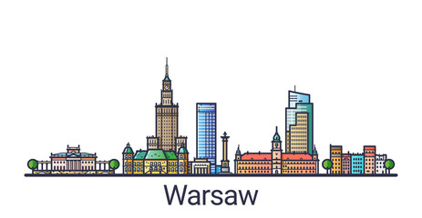 Banner of Warsaw city skyline in flat line trendy style. Warsaw city line art. All buildings separated and customizable.