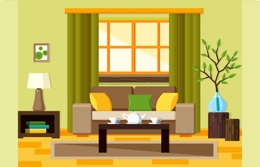 Lliving room flat illustration in eco style. Sofa, table, window and plants eco. Green colors.