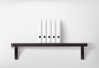 White lever arch folders on wooden shelf. Lever arch files mockup on white wall.