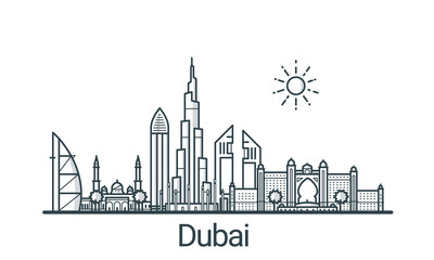 Linear banner of Dubai city. All buildings - customizable different objects with clipping mask, so you can change background and composition. Line art.