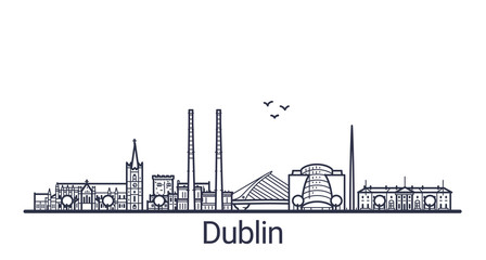 Linear banner of Dublin city. All buildings - customizable different objects with clipping mask, so you can change background and composition. Line art.