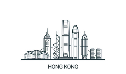 Linear banner of Hong Kong city. All buildings - customizable different objects with clipping mask, so you can change background and composition. Line art. Wall mural