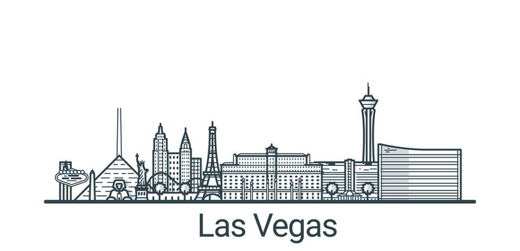 Linear banner of Las Vegas city. All buildings - customizable different objects with clipping mask, so you can change background and composition. Line art.