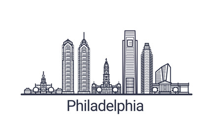 Linear banner of Philadelphia city. All buildings - customizable different objects with clipping mask, so you can change background and composition. Line art.