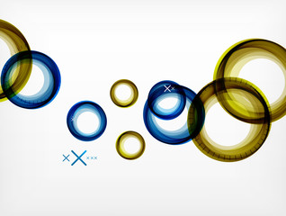 Flying abstract circles, vector geometric background, color air bubbles, web banner template, business or technology presentation background or elements