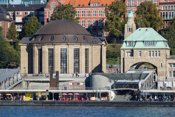 The entrance building into the Elbe Tunnel (Elbtunnel), which runs under the Elbe River for cars and pedestrians, Hamburg, Germany.