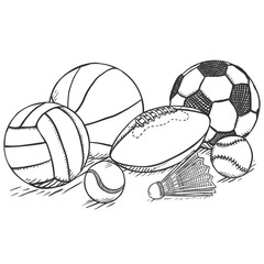 Vector Sketch Sport Set - Pile of Different Balls and Equipment
