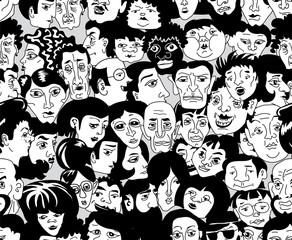 Текстура, заполняющая поверхность изображениями лиц разных людей в стиле карикатуры, в черном и белом цвете