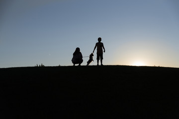 Silhouette siblings playing with dog on land against clear sky during sunset