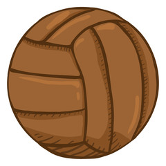 Vector Cartoon Old Fashioned Leather Volleyball Ball