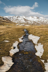 Scenic view of stream against mountains and cloudy sky during winter