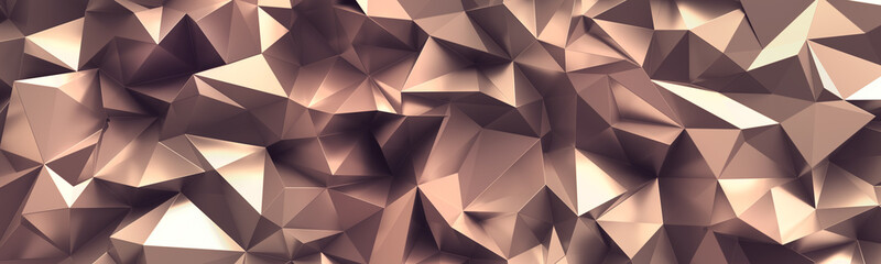 3d render, abstract rose gold crystal background, faceted copper metallic texture, macro panorama, wide panoramic polygonal wallpaper