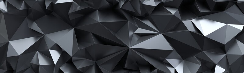 3d render, abstract black crystal background, faceted texture, macro panorama, wide panoramic polygonal wallpaper Fotoväggar