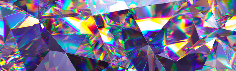 3d render, abstract crystal background, iridescent texture, macro panorama, faceted gem, wide...