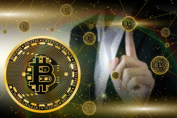 illustration of gold bitcoin coin with blockchain line and bussiness women background in concept world connect