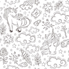 Very tender and cute seamless pattern. Vector magic background with unicorns, rainbows, clouds, stars and clover for luck