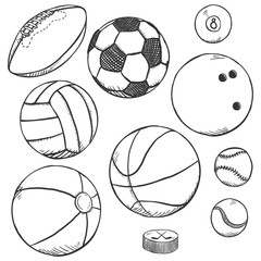Vector Sketch Set of Sport Balls