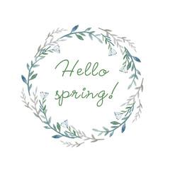 Hello spring. Watercolor hand drawn herbs wreath. Illustration.