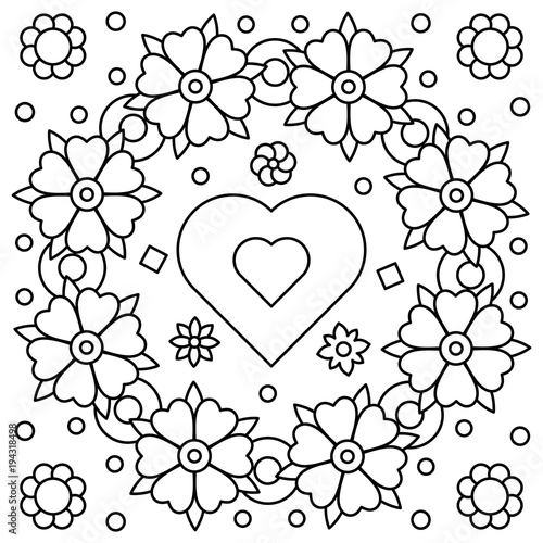 Floral Wreath Coloring Page Vector Illustration Stock Image And