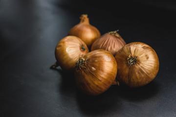 elegant onion on black background