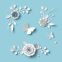 3d rendering, white paper flowers on blue background, isolated floral design elements, botanical clip art set, bridal bouquet, lace wedding wall decoration
