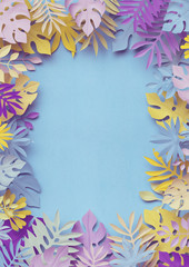 3d rendering, tropical paper leaves, decorative vertical frame, pastel botanical background, blank space, jungle nature, bright candy colors