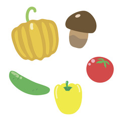 simple bright colorful multicolored pumpkin, mushroom, tomato, pepper and cucumber isolated