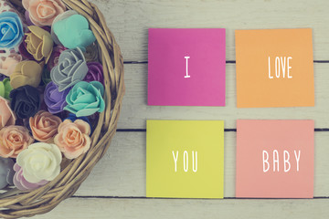 I love you baby on paper stickers.Toned.